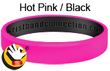 Hot Pink/ Black rubber bracelet