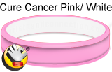 Pink (cure cancer pink)/White rubber bracelet