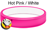 Hot Pink/White - CC rubber bracelet